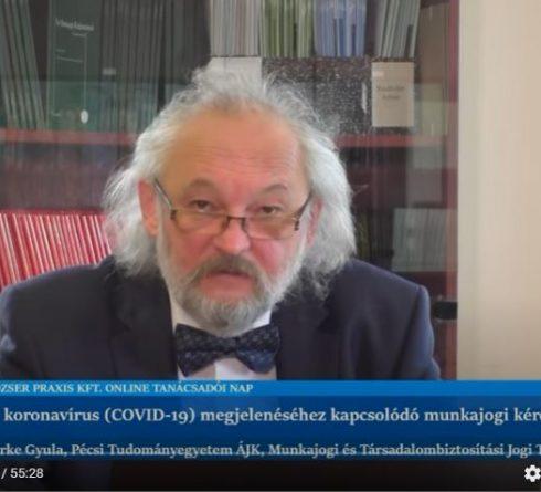 Az új koronavírus (COVID-19) megjelenéséhez kapcsolódó munkajogi kérdések – Dr. Berke Gyula